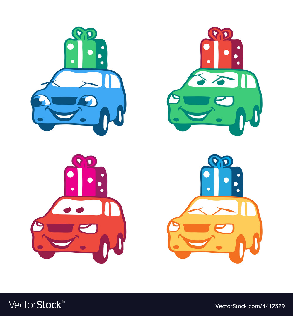 Collection of colored cartoon car with present box vector | Price: 1 Credit (USD $1)