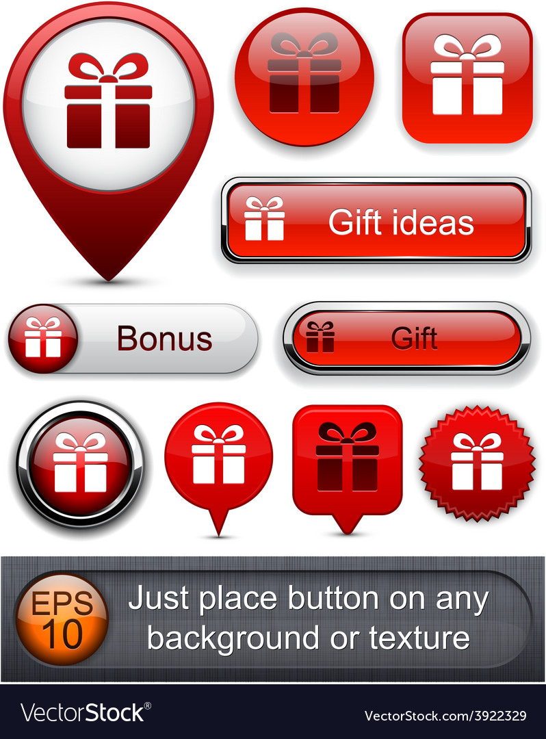 Gift high-detailed modern buttons vector | Price: 1 Credit (USD $1)