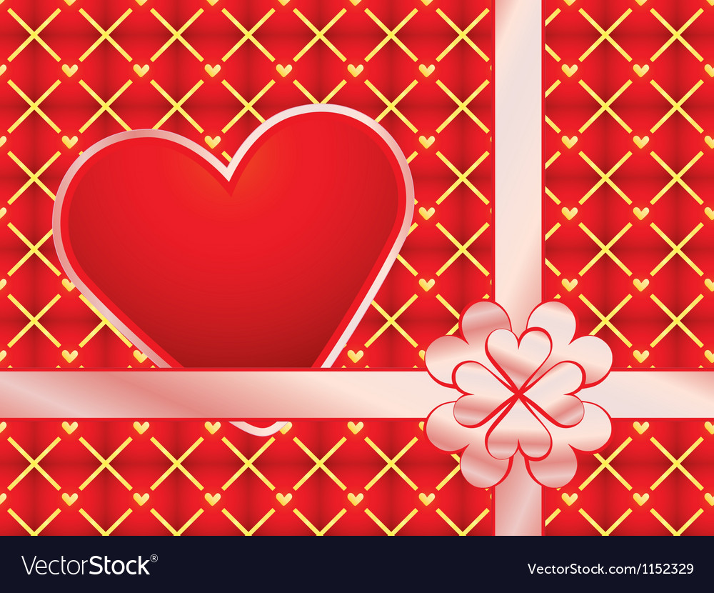 Gift wrapper with red valentine vector | Price: 1 Credit (USD $1)