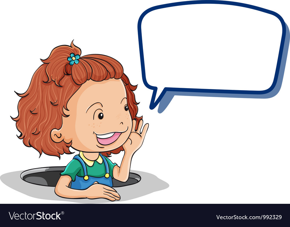 Girl holding speech bubble vector | Price: 1 Credit (USD $1)