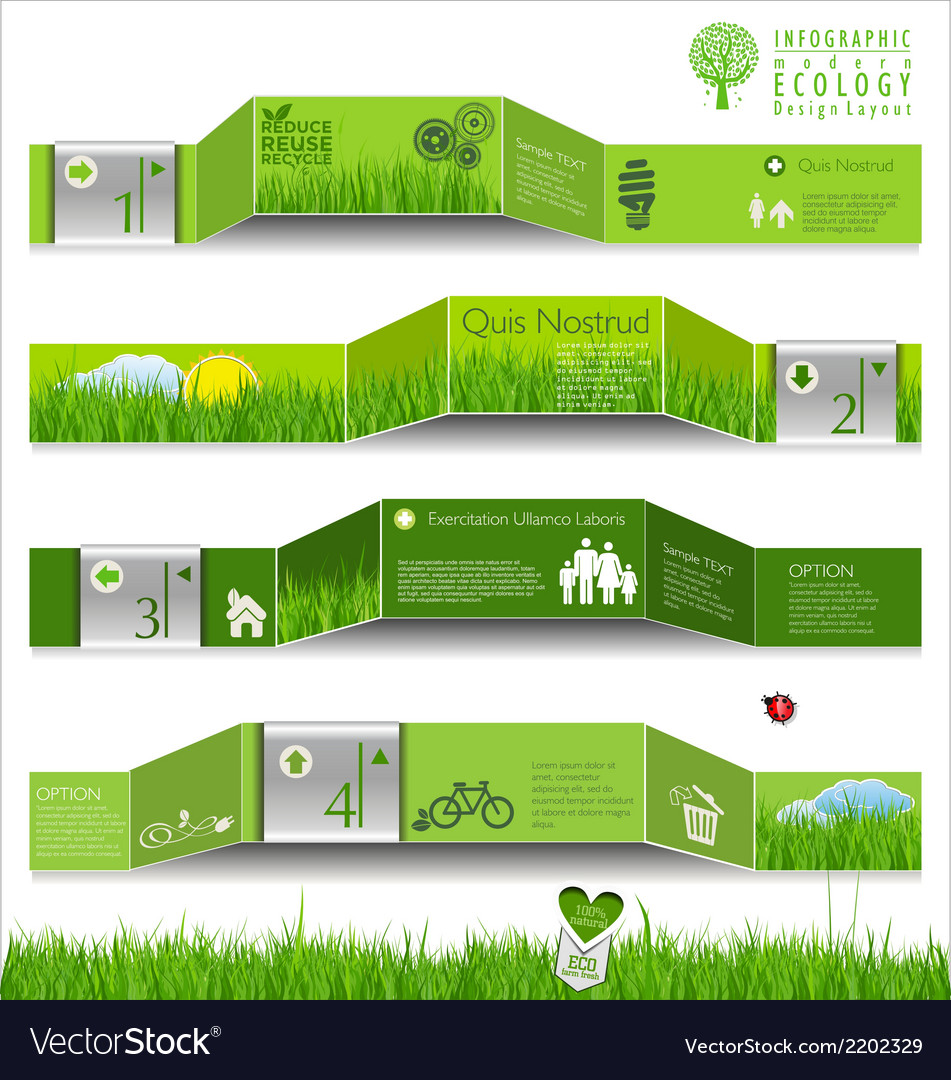 Modern ecology infographic design vector | Price: 1 Credit (USD $1)