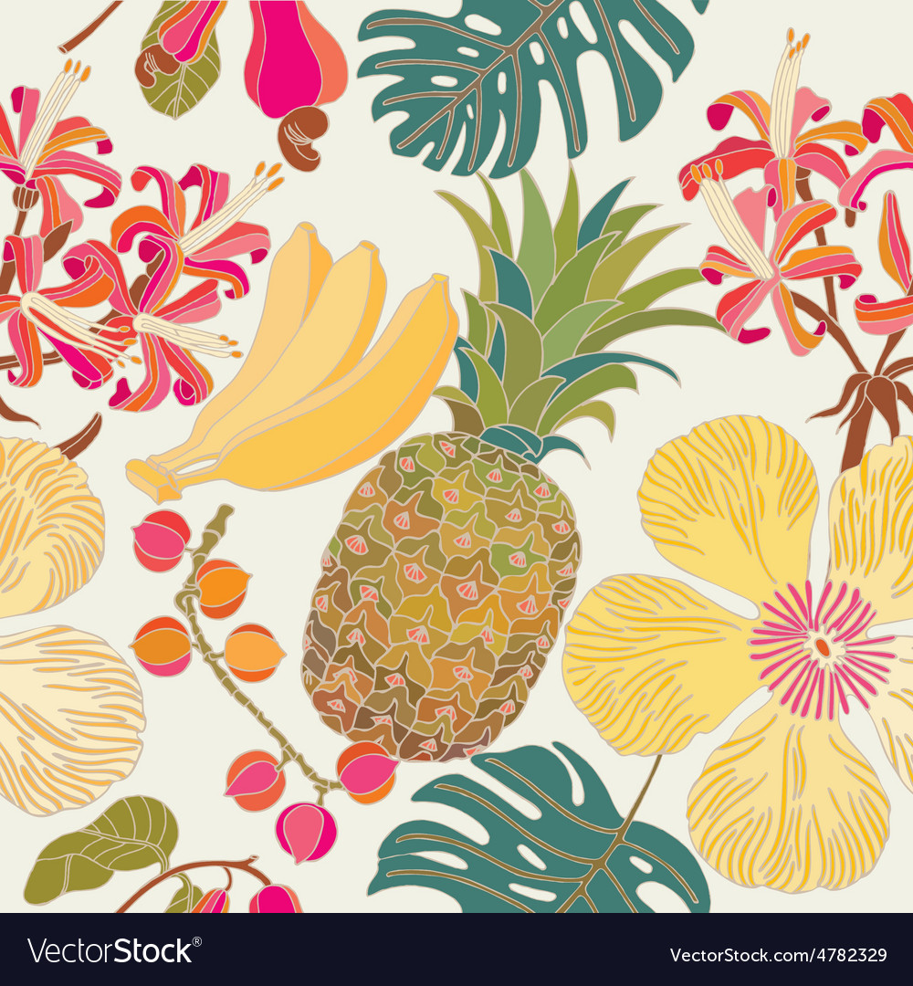 Pattern hibiscus tropical flowers vector | Price: 1 Credit (USD $1)