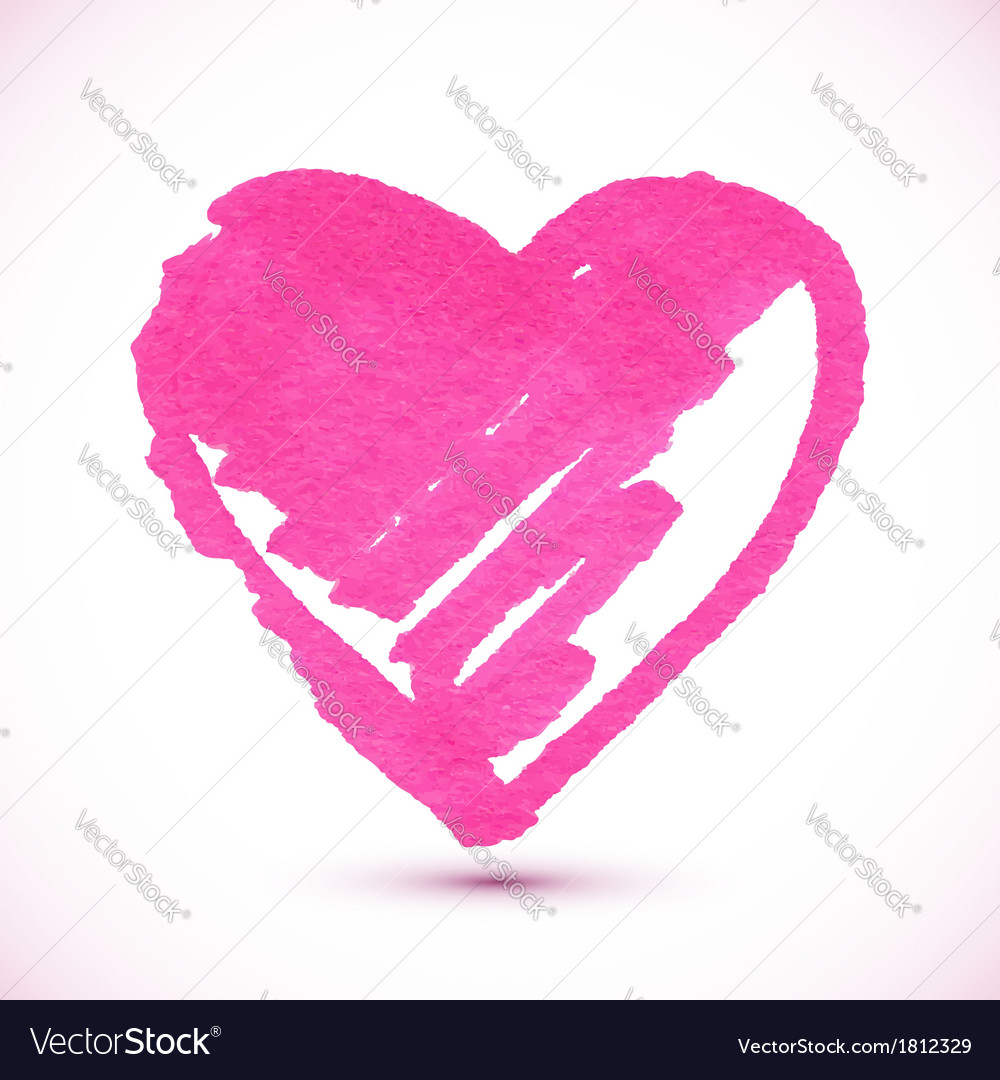 Pink isolated marker painted textured heart vector | Price: 1 Credit (USD $1)
