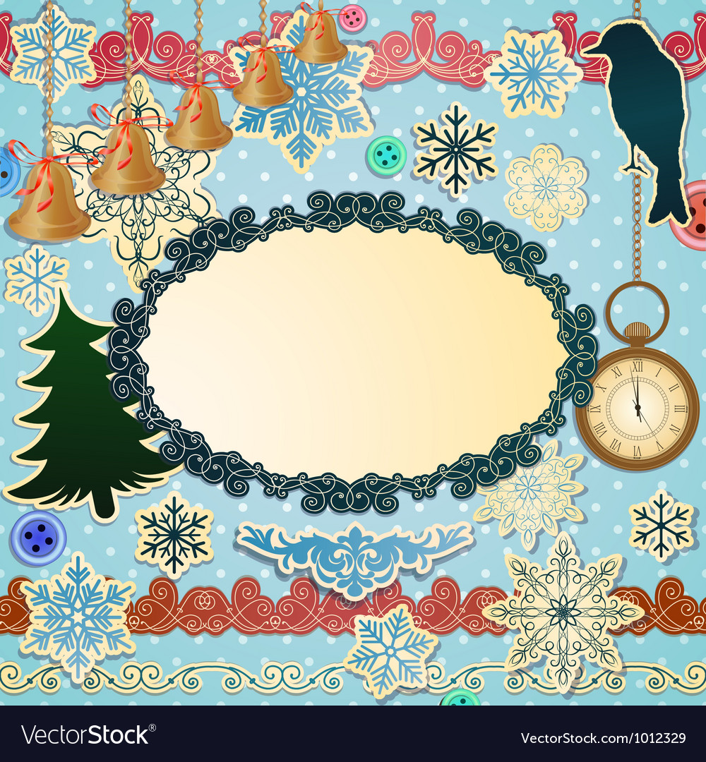 Scrapbooking luxury set for christmas vector | Price: 1 Credit (USD $1)