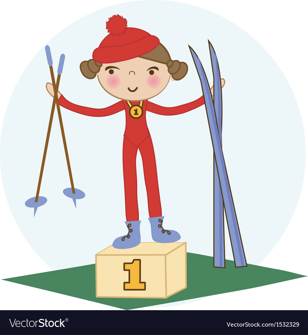 Skiing winter child - young skier in winter resort vector | Price: 1 Credit (USD $1)