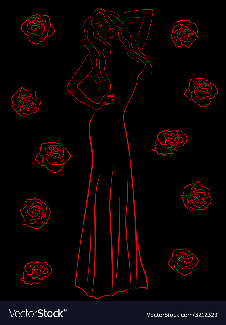 Stylish woman in a long gown among roses over vector | Price: 1 Credit (USD $1)