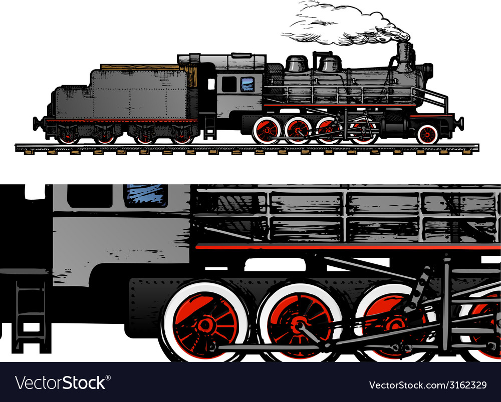 Vintage train vector | Price: 1 Credit (USD $1)