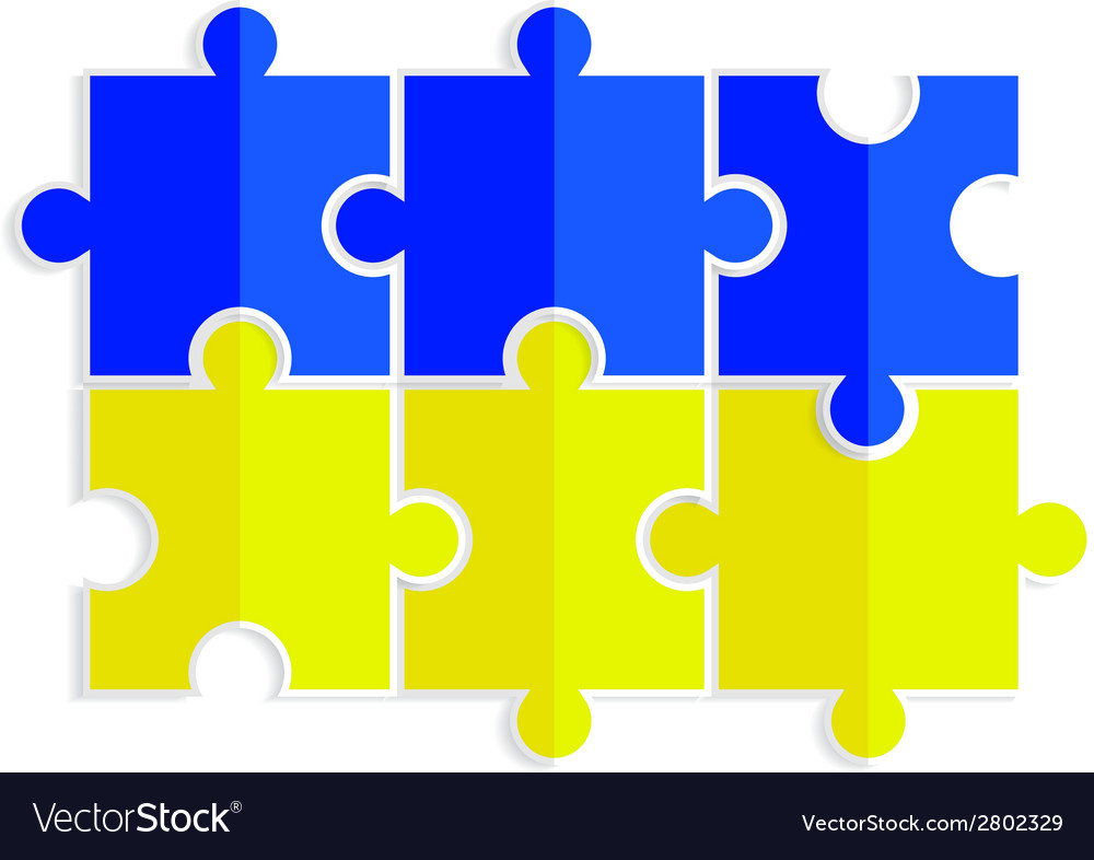 Yellow and blue puzzles in the form of a flag of u vector | Price: 1 Credit (USD $1)