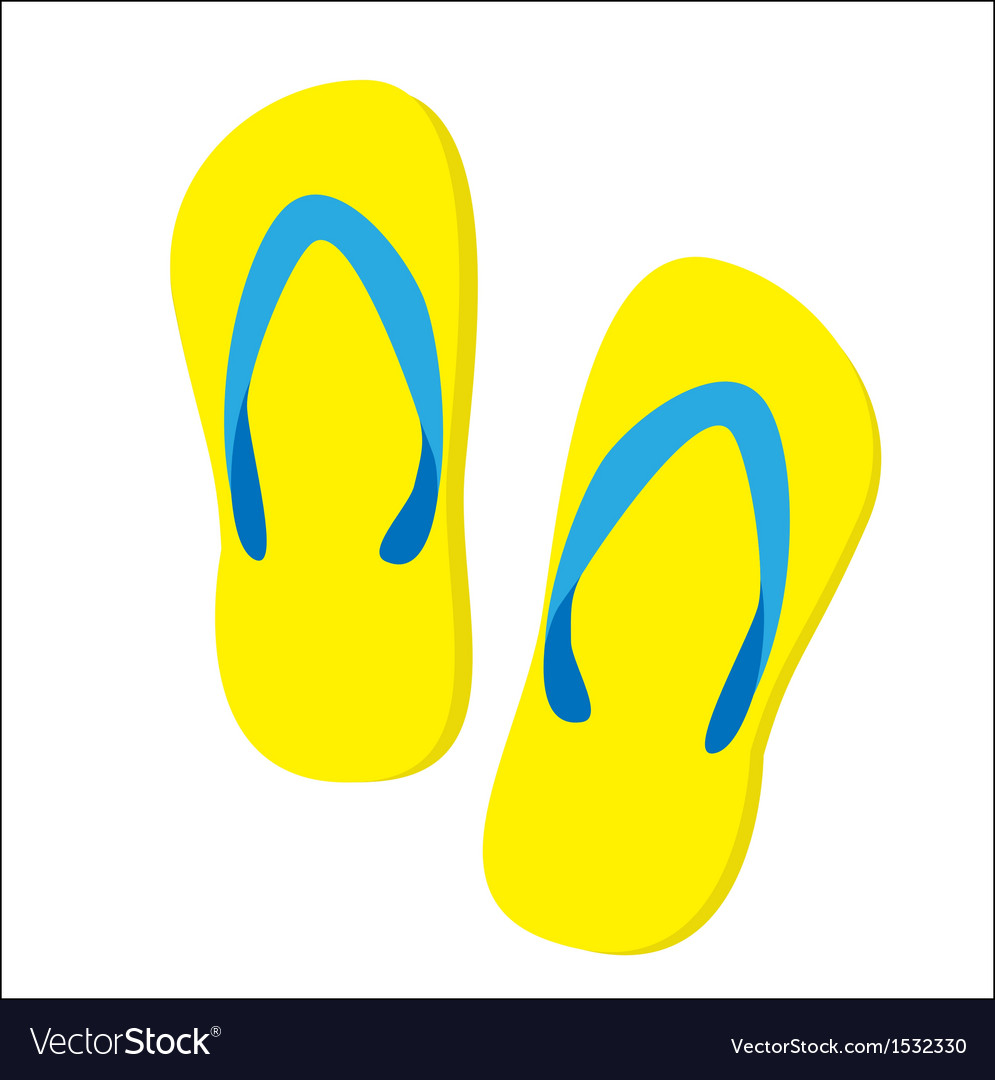 Beautiful beach slippers isolated vector | Price: 1 Credit (USD $1)
