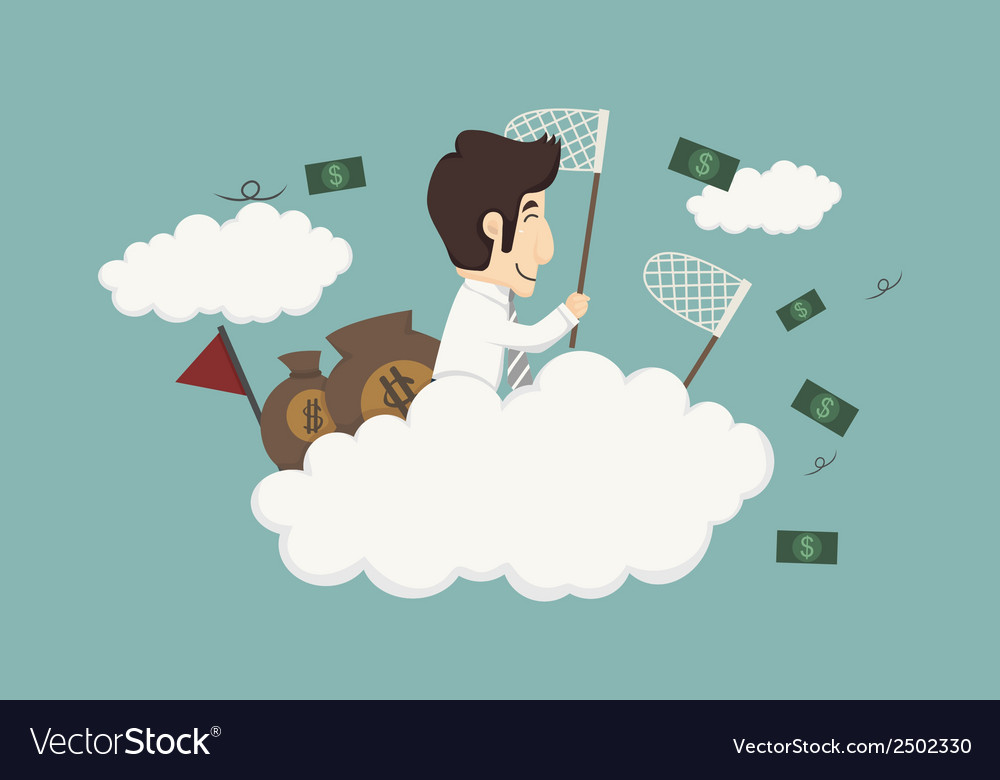Business man catching money vector | Price: 1 Credit (USD $1)