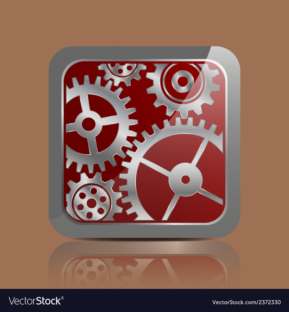 Button silver with gears vector | Price: 1 Credit (USD $1)