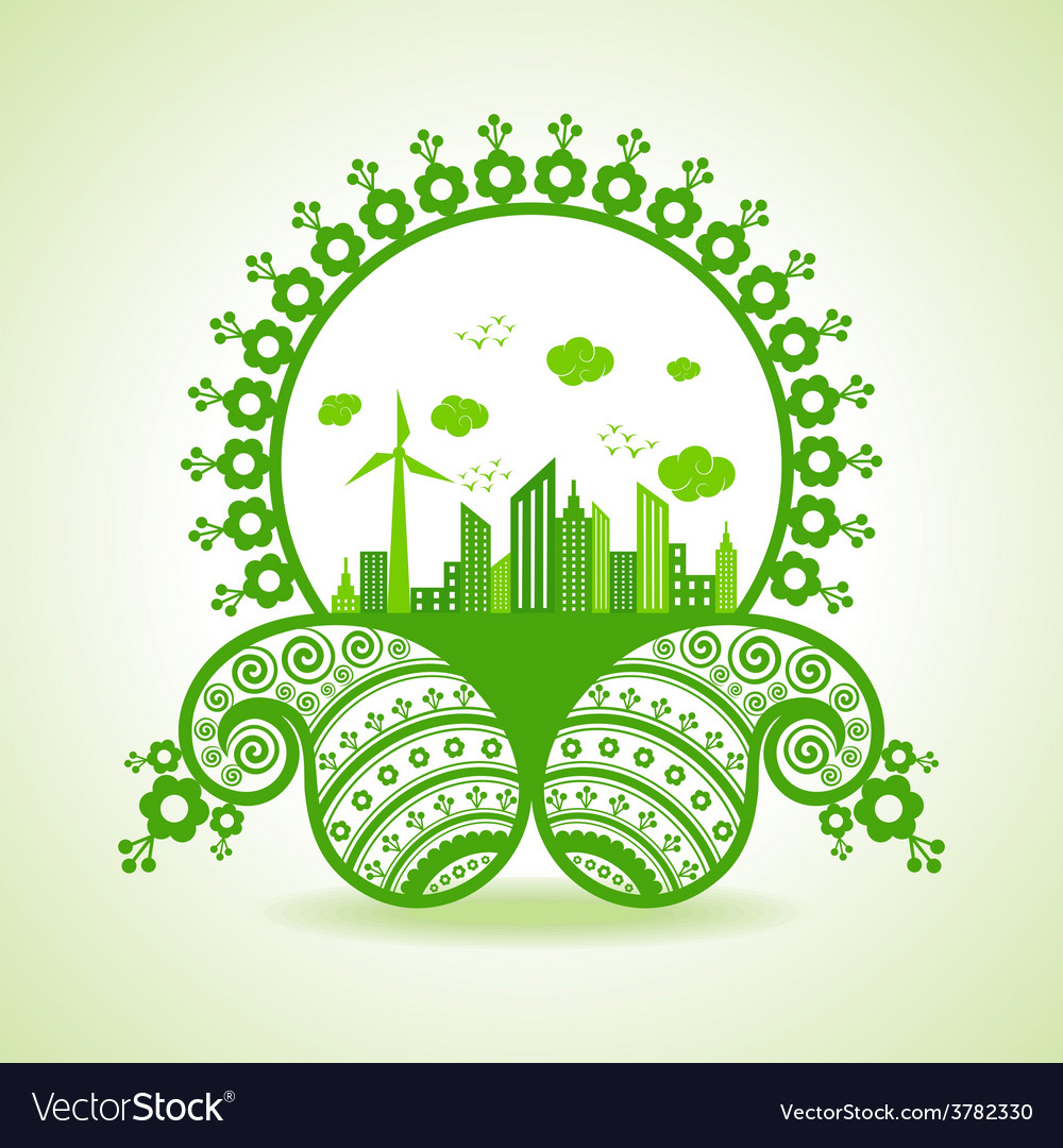 Ecology concept - eco cityscape with paisley desig vector | Price: 1 Credit (USD $1)
