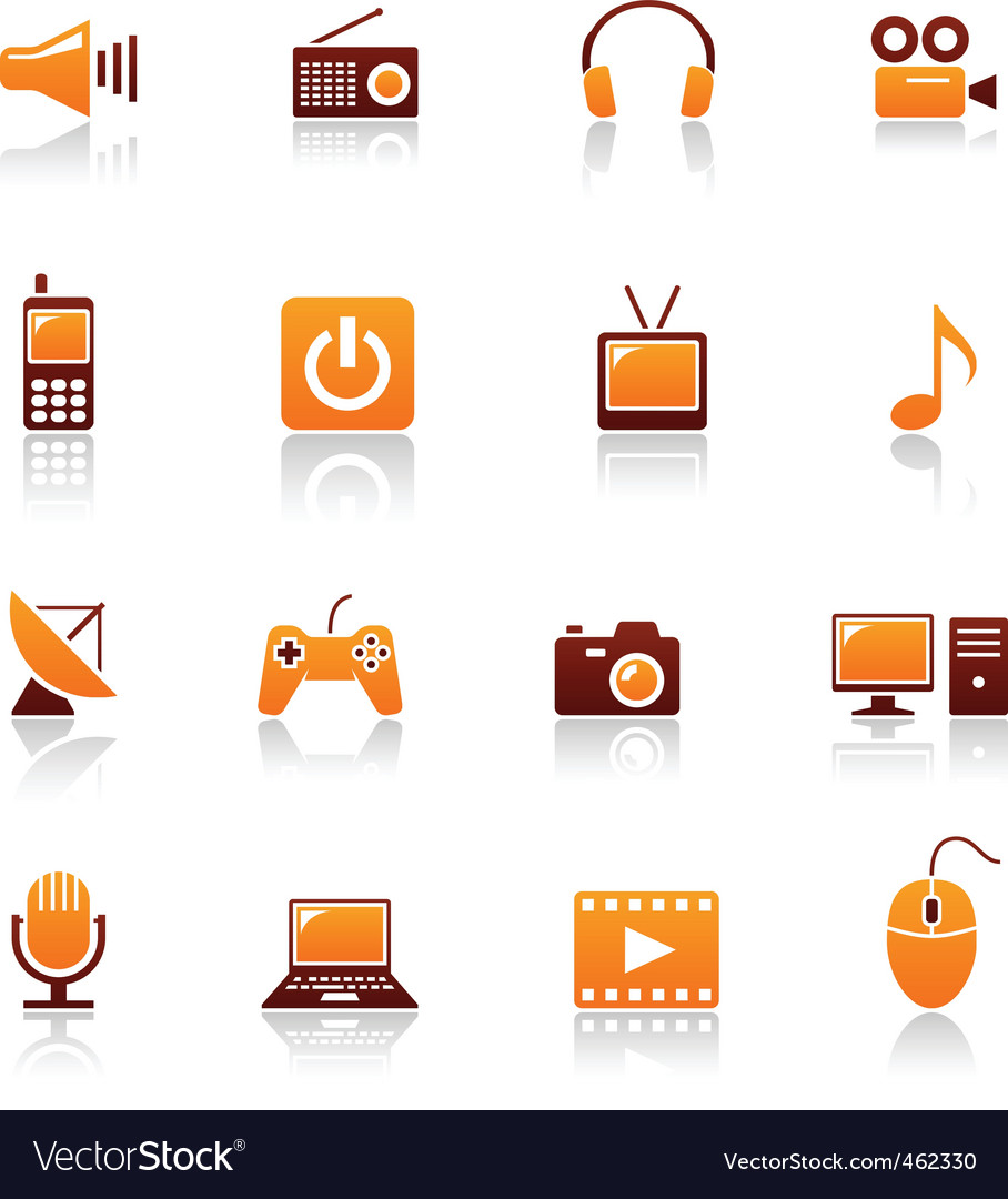 Media and telecom icons vector | Price: 1 Credit (USD $1)