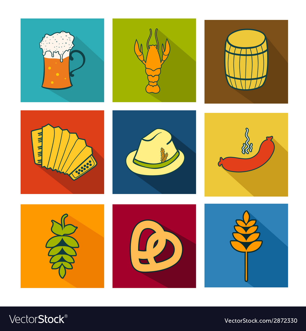 Oktoberfest icons set vector | Price: 1 Credit (USD $1)