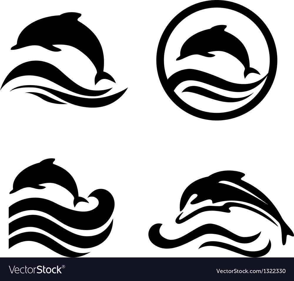 Silhouettes of the dolphins jumping through a wave vector