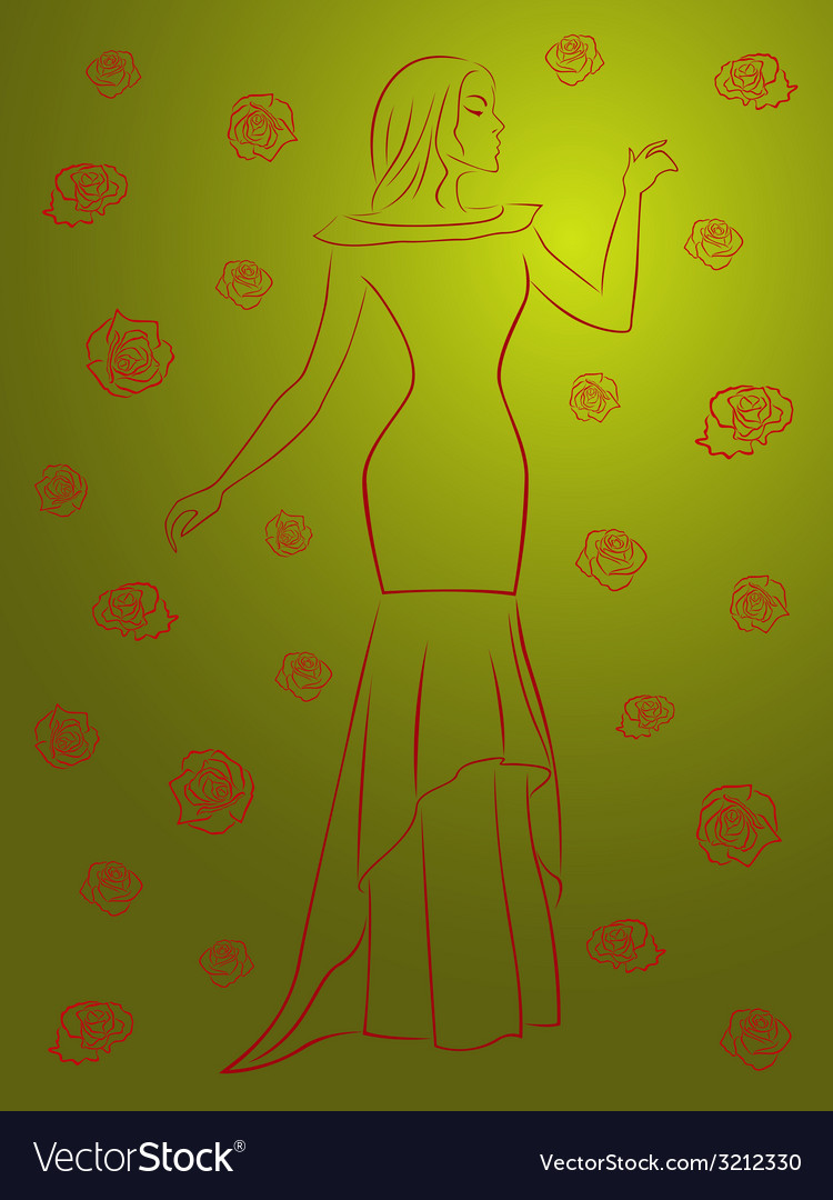 Stylish woman in a long dress among roses over vector | Price: 1 Credit (USD $1)