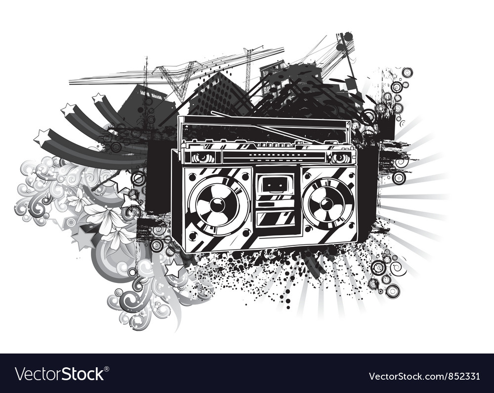 Cassette player with urban background vector | Price: 1 Credit (USD $1)