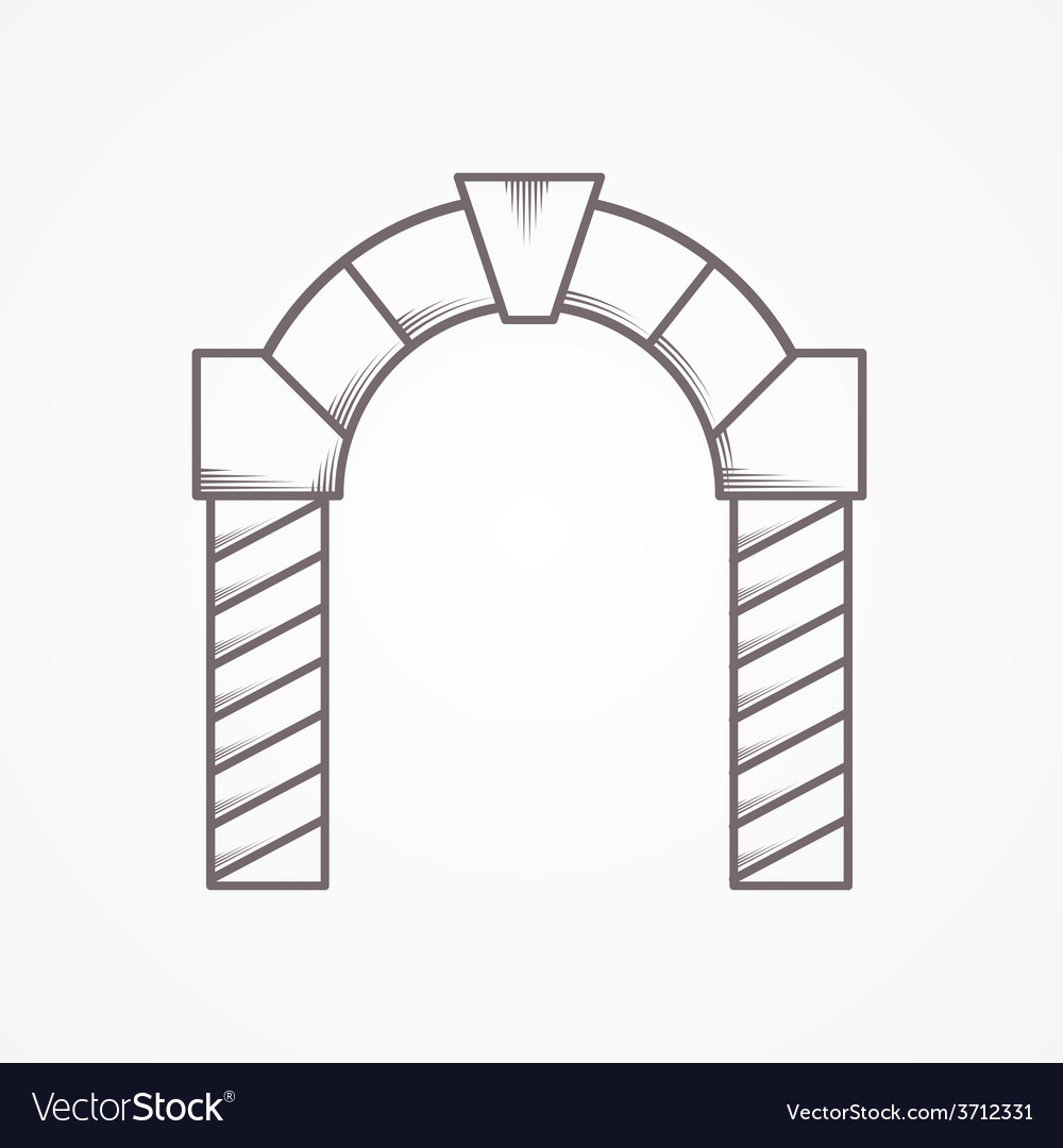 Flat line round arch icon vector | Price: 1 Credit (USD $1)