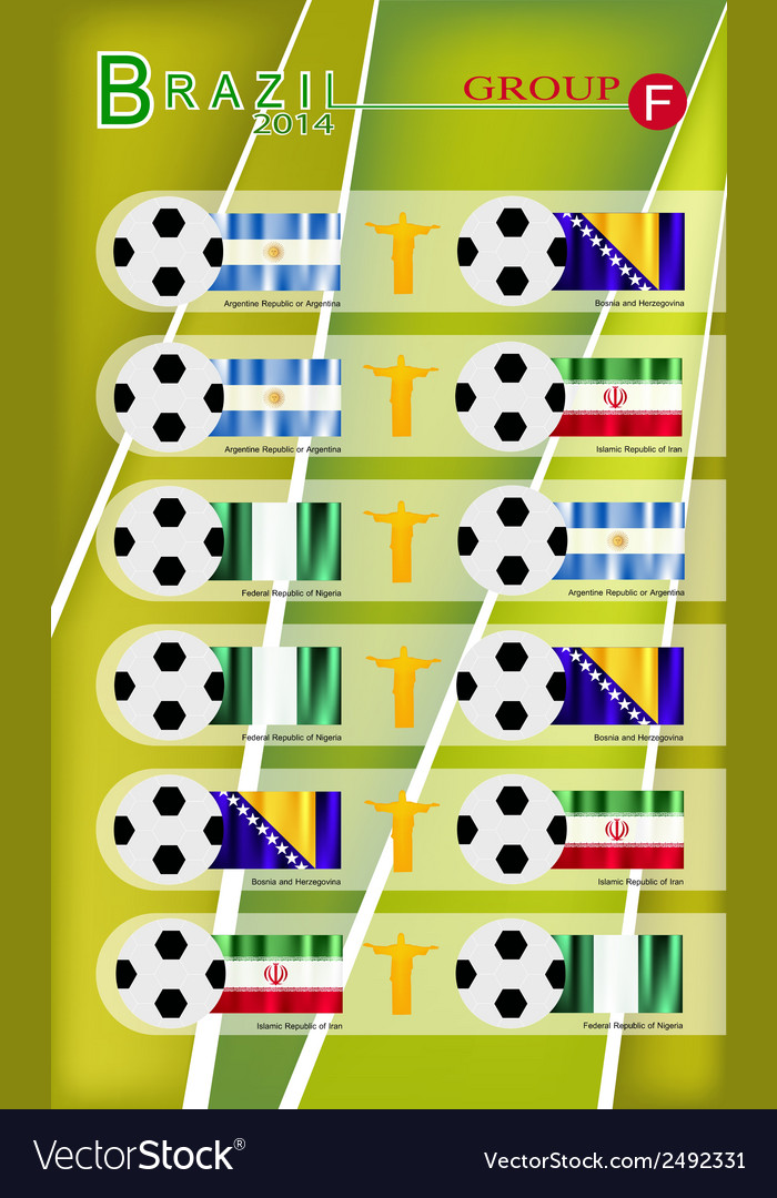 Football tournament of brazil 2014 group f vector   Price: 1 Credit (USD $1)