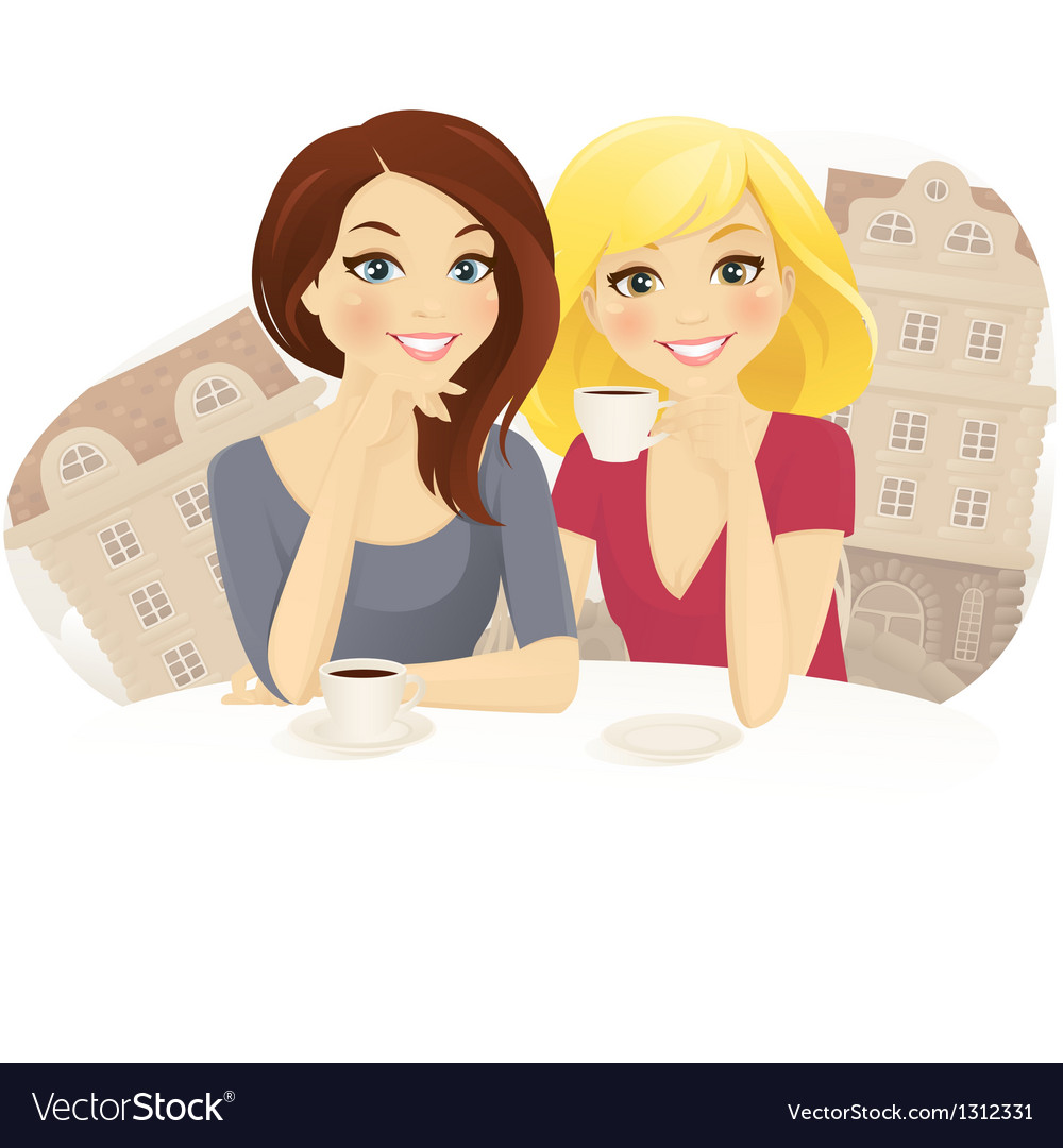 Girlfriends in cafe vector | Price: 3 Credit (USD $3)