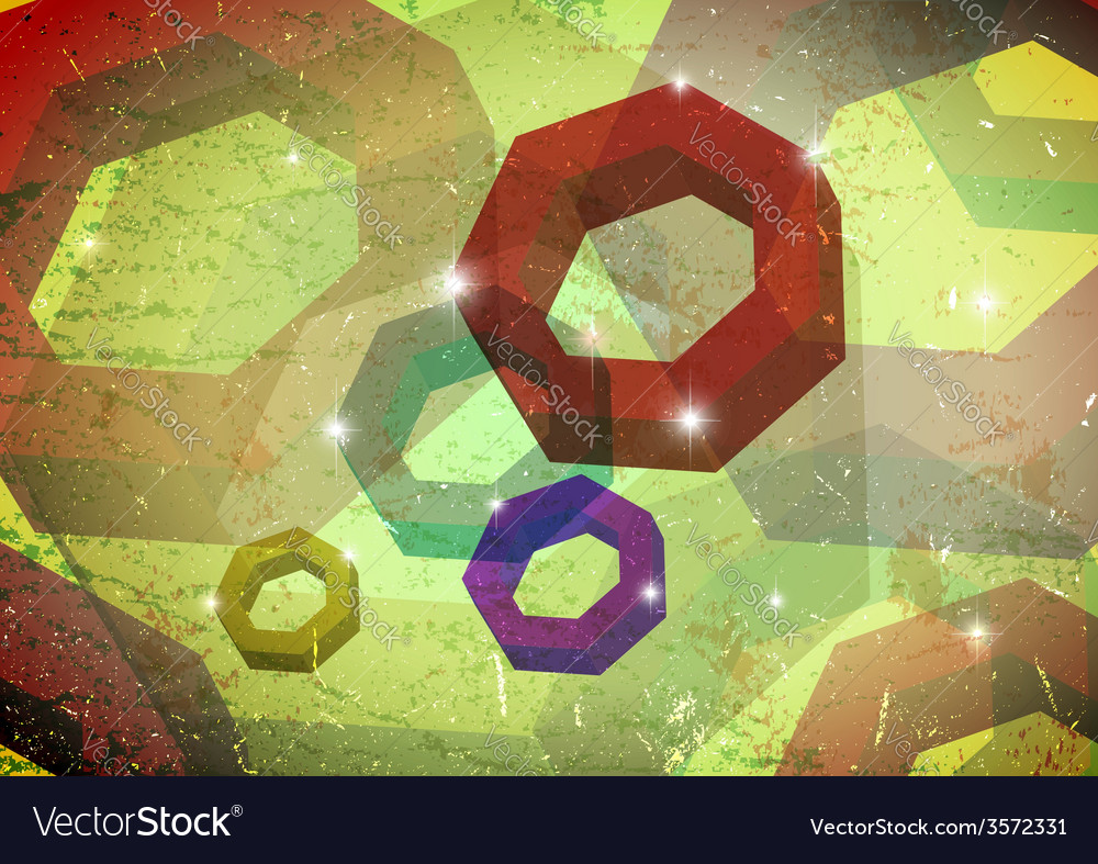 Grungy card with polygon rings vector | Price: 1 Credit (USD $1)