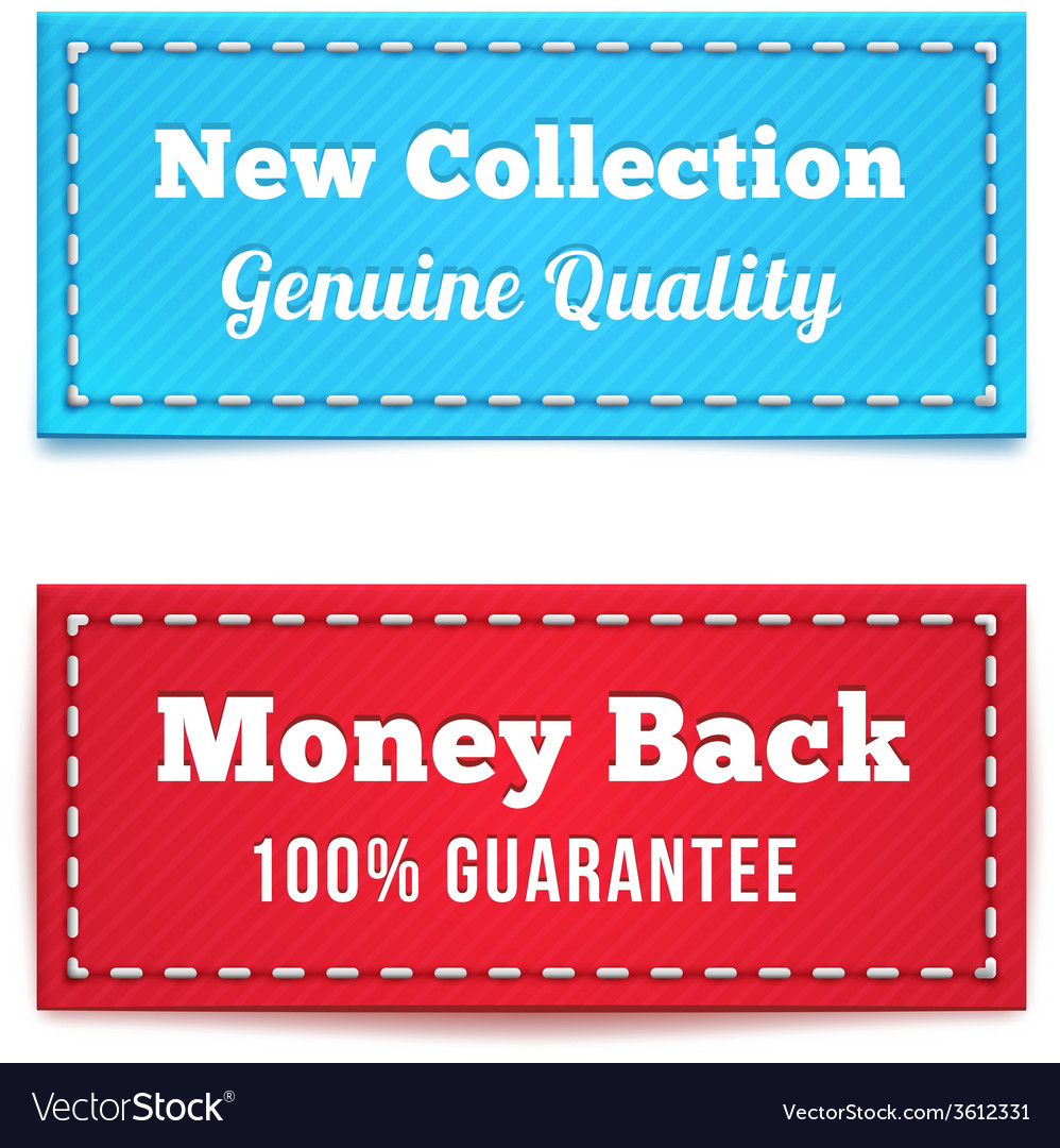 New collection and money back tag badges vector | Price: 1 Credit (USD $1)