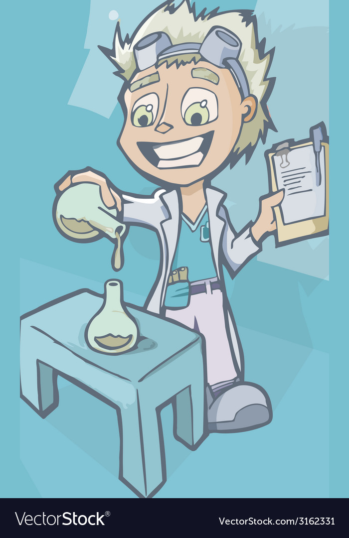 Scientist in laboratory with chemistry experiment vector | Price: 1 Credit (USD $1)