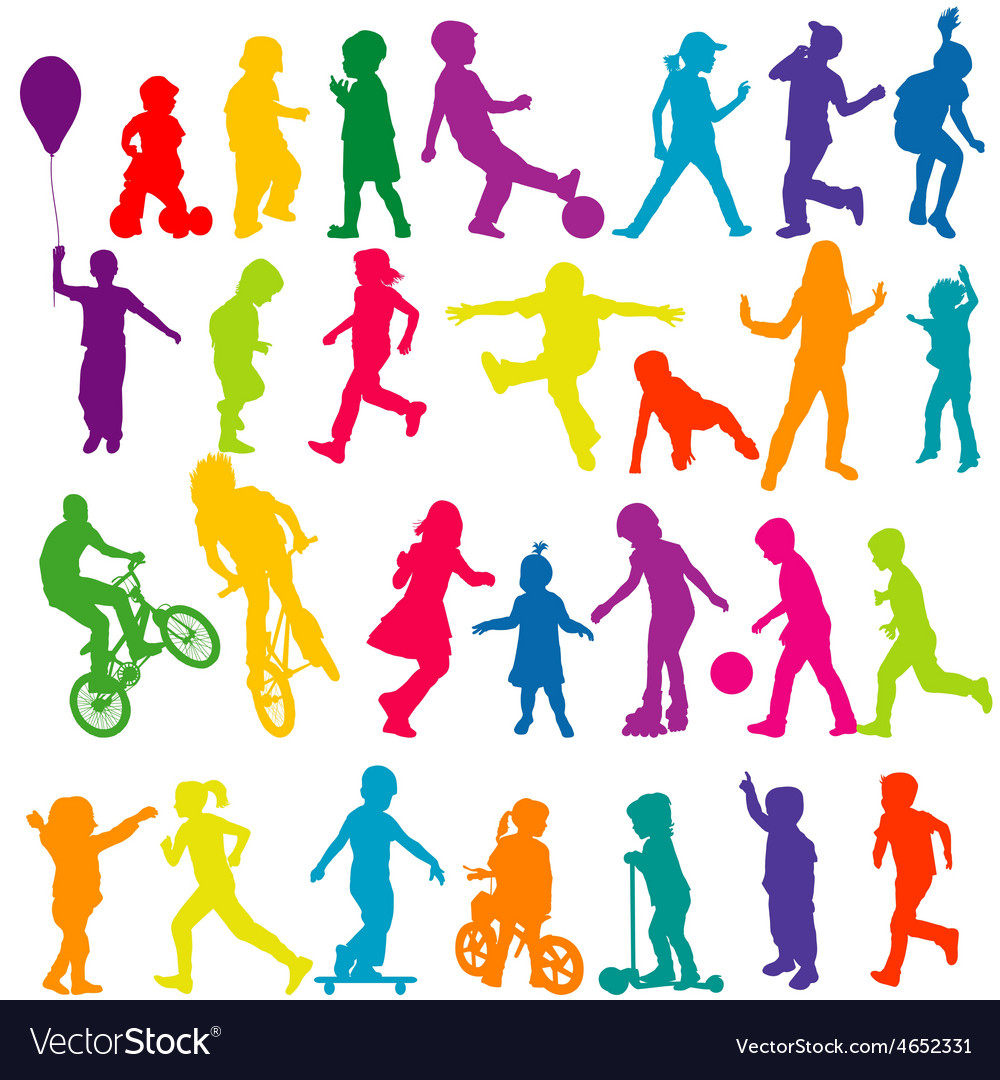 Set of colored silhouettes of active children vector | Price: 1 Credit (USD $1)