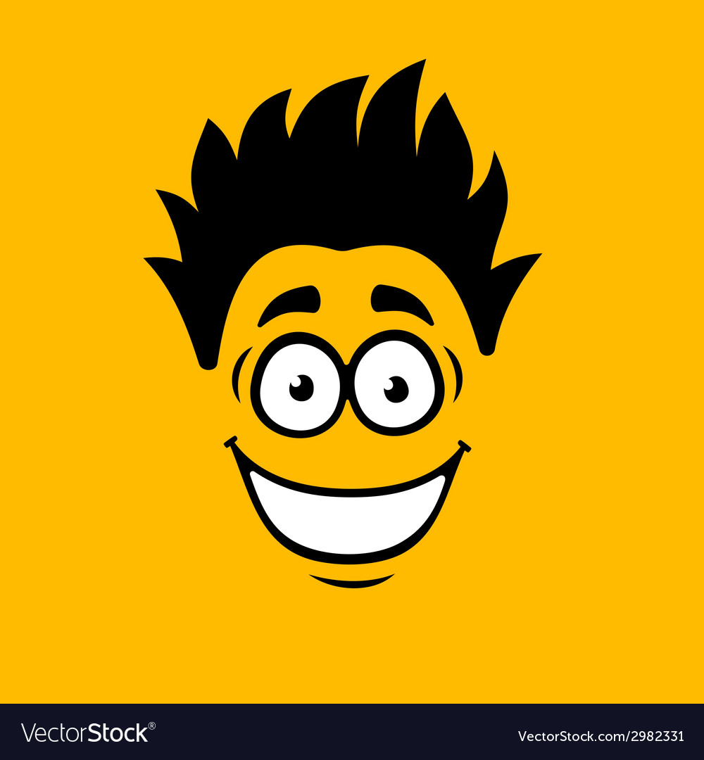 Smiling cartoon face on orange background vector | Price: 1 Credit (USD $1)