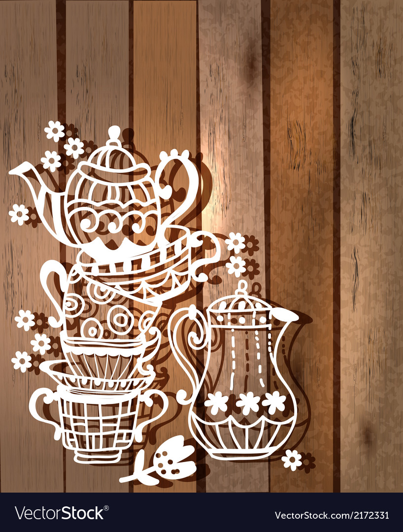 Tea cup background with teapot and jar vector | Price: 1 Credit (USD $1)