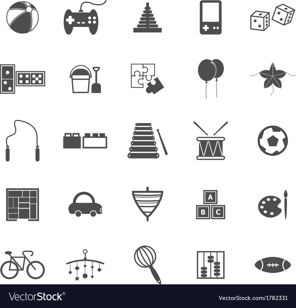 Toy icons on white background vector | Price: 1 Credit (USD $1)