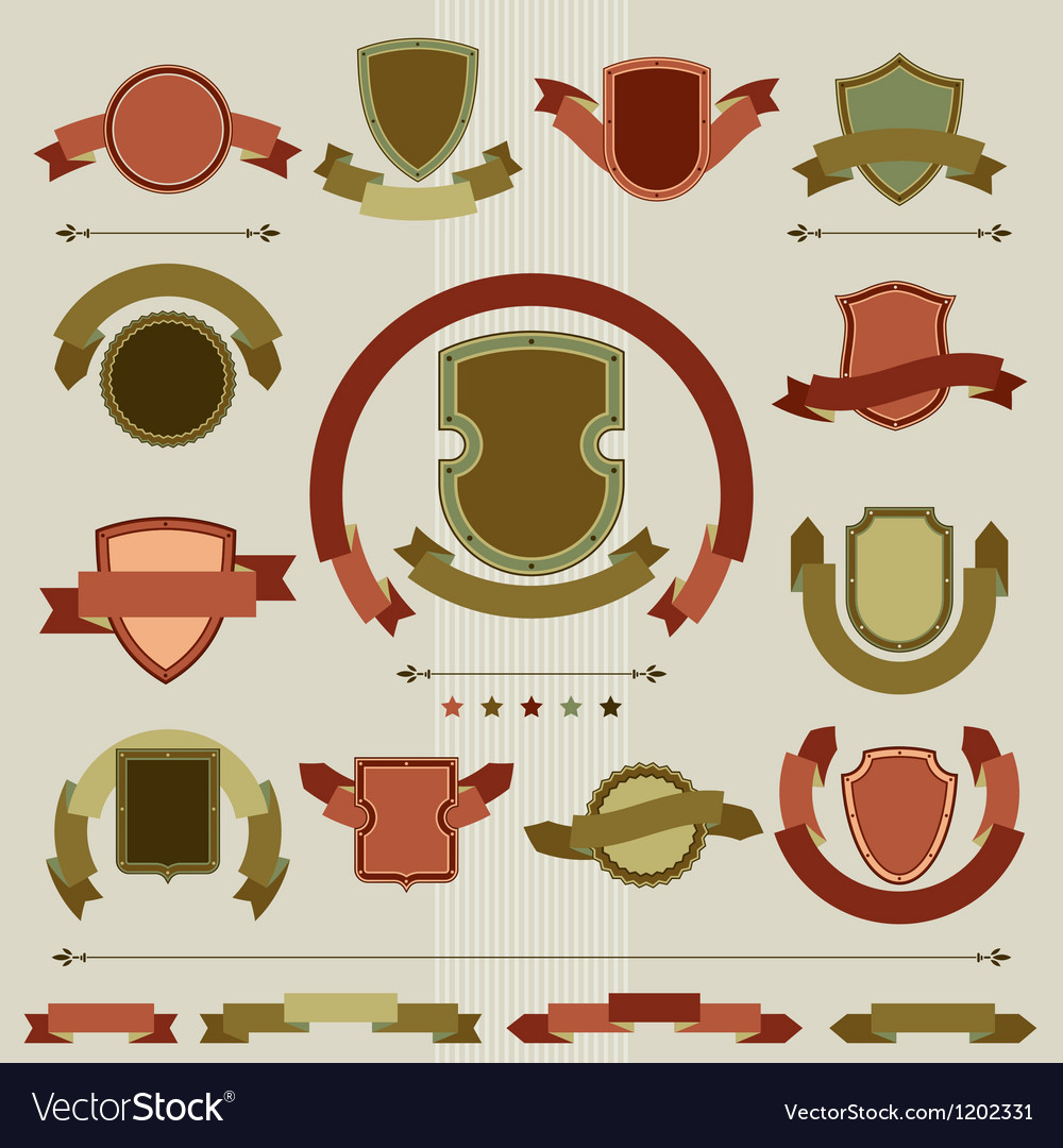 Vintage heraldry shields and ribbons retro style vector | Price: 1 Credit (USD $1)