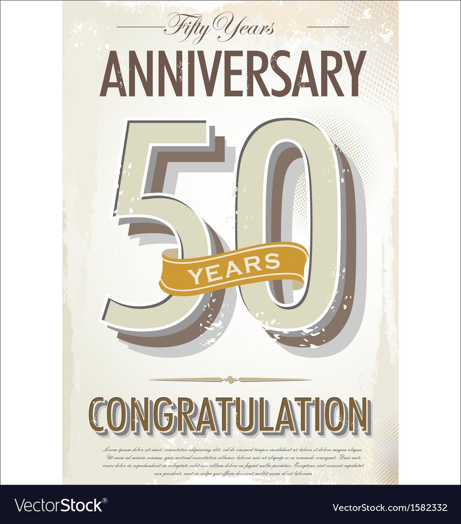 50 years anniversary retro background vector   Price: 1 Credit (USD $1)