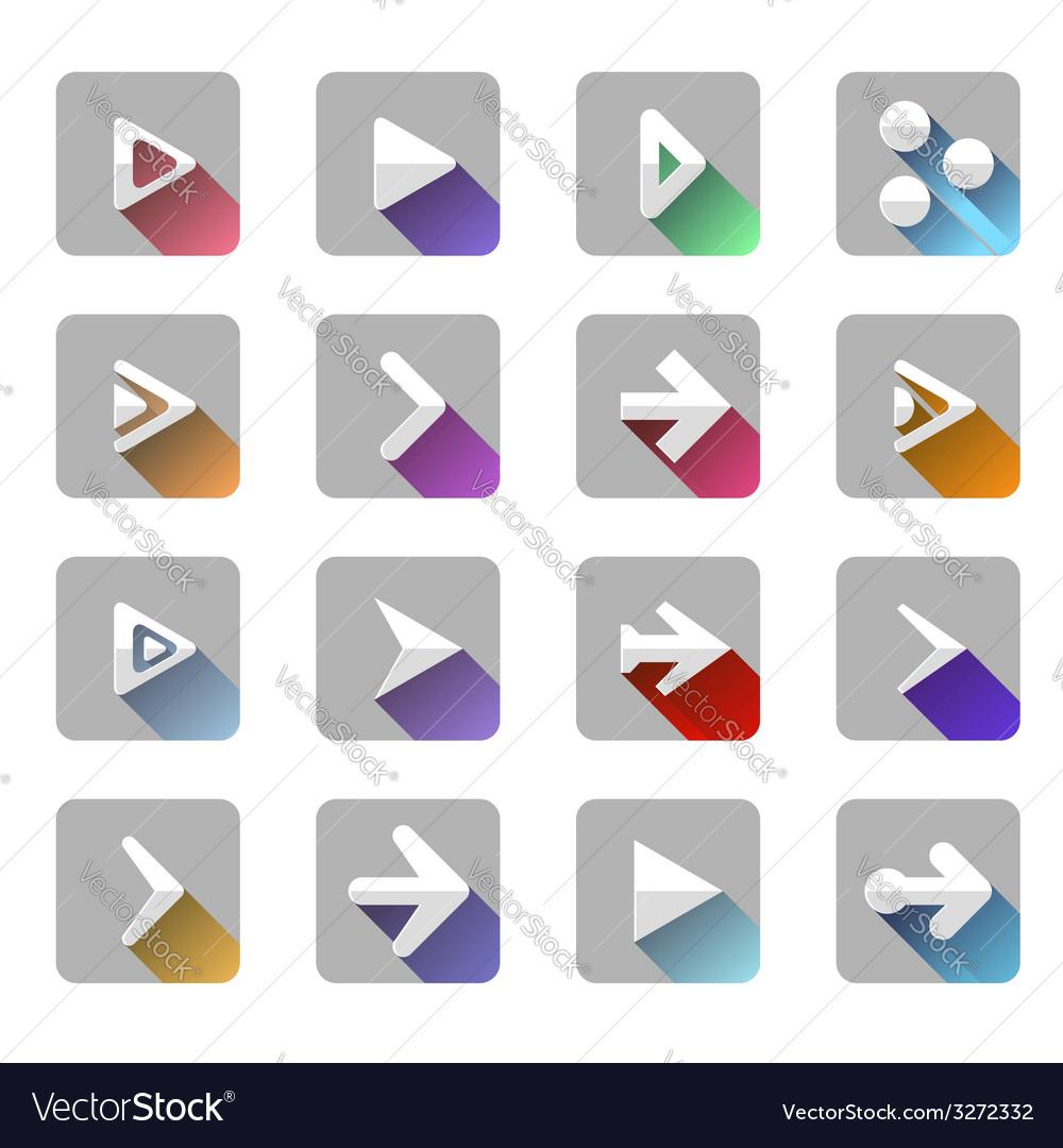Arrow elements icon symbol colorful long shadow vector   Price: 1 Credit (USD $1)