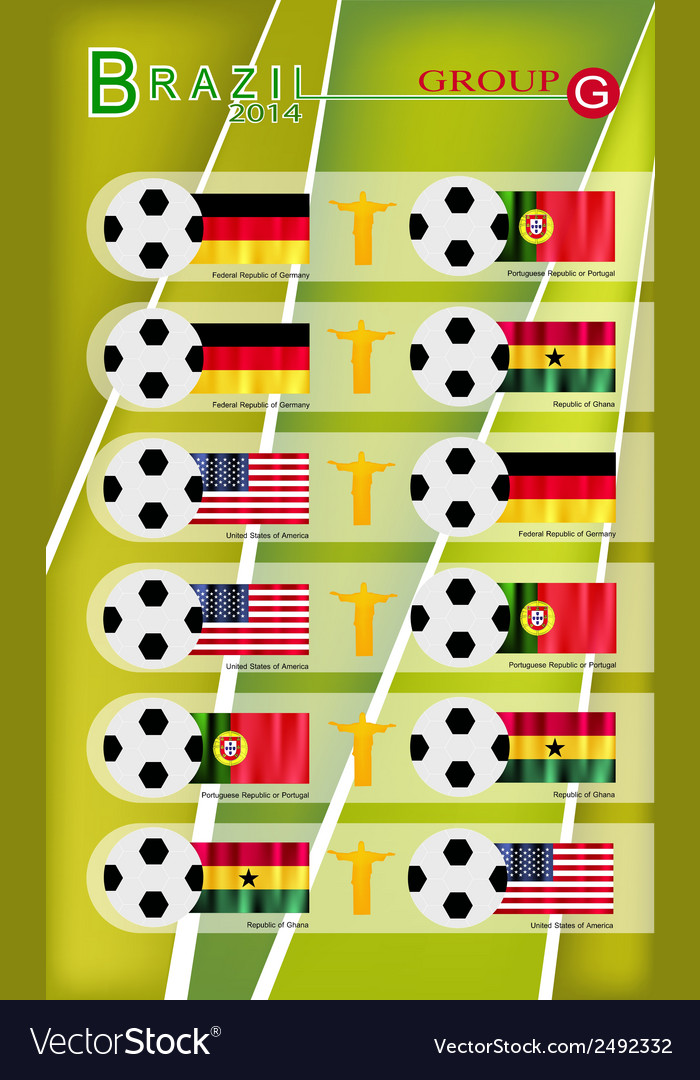 Football tournament of brazil 2014 group g vector | Price: 1 Credit (USD $1)