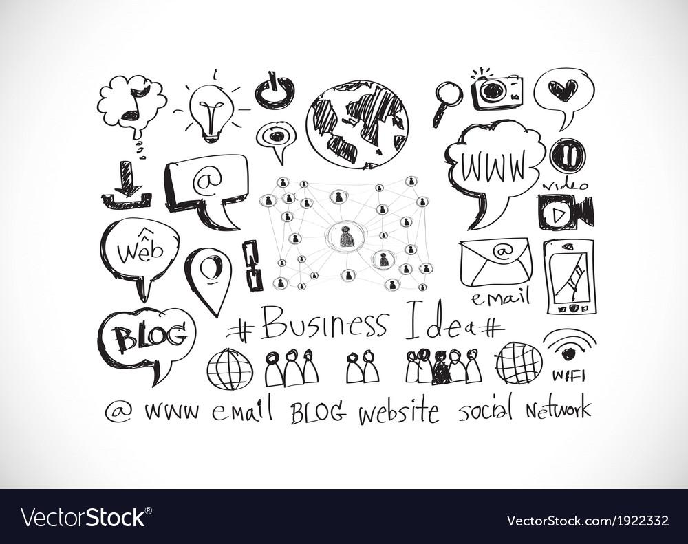 Hand doodle business icon set idea design vector | Price: 1 Credit (USD $1)