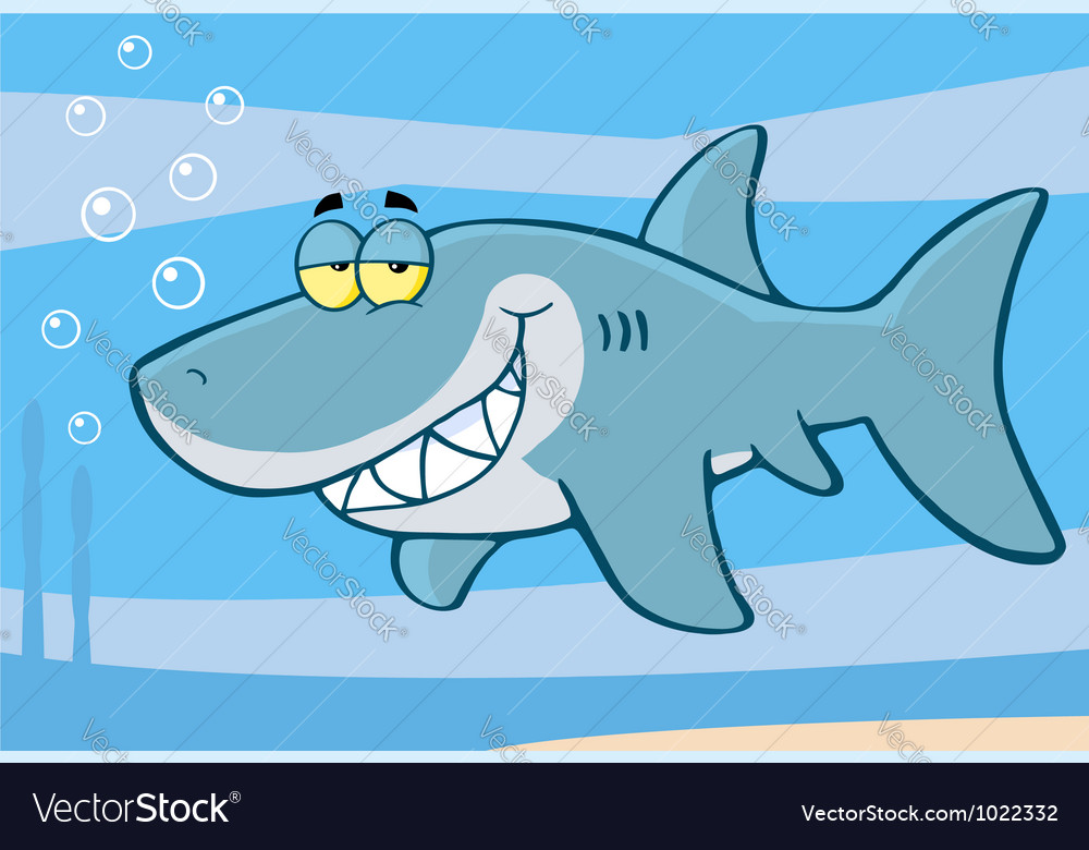 Happy shark cartoon character vector | Price: 1 Credit (USD $1)