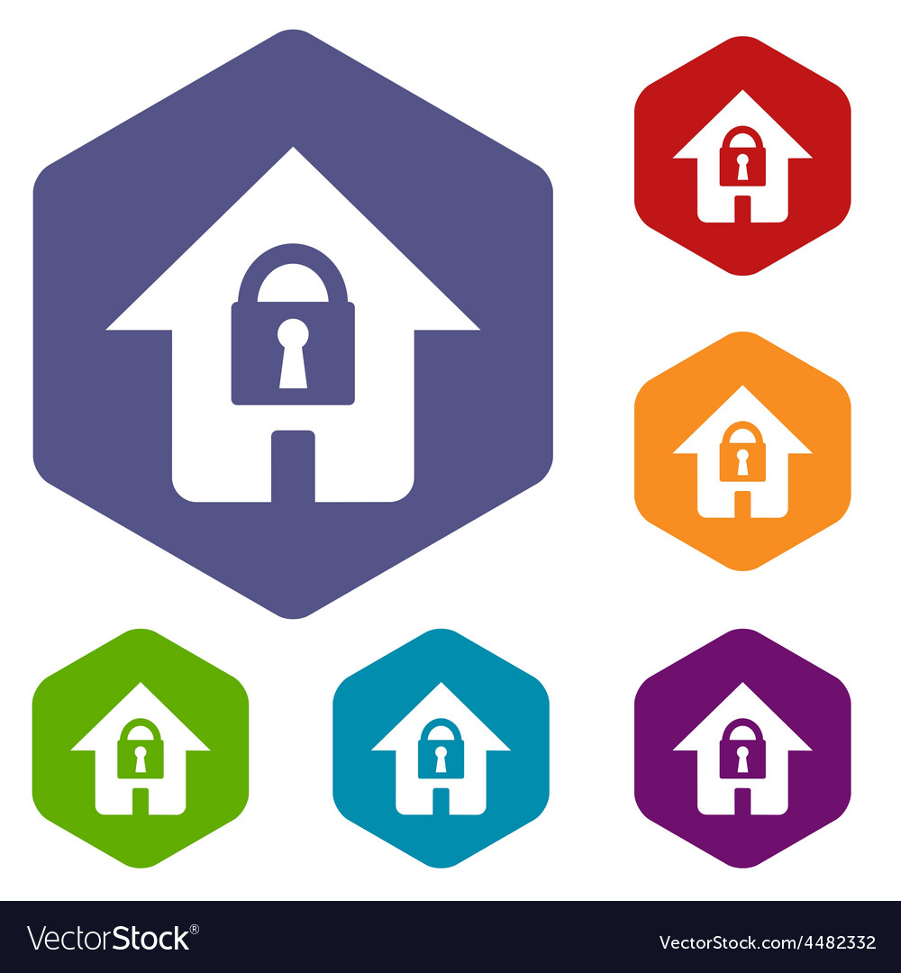 Lock house rhombus icons vector | Price: 1 Credit (USD $1)