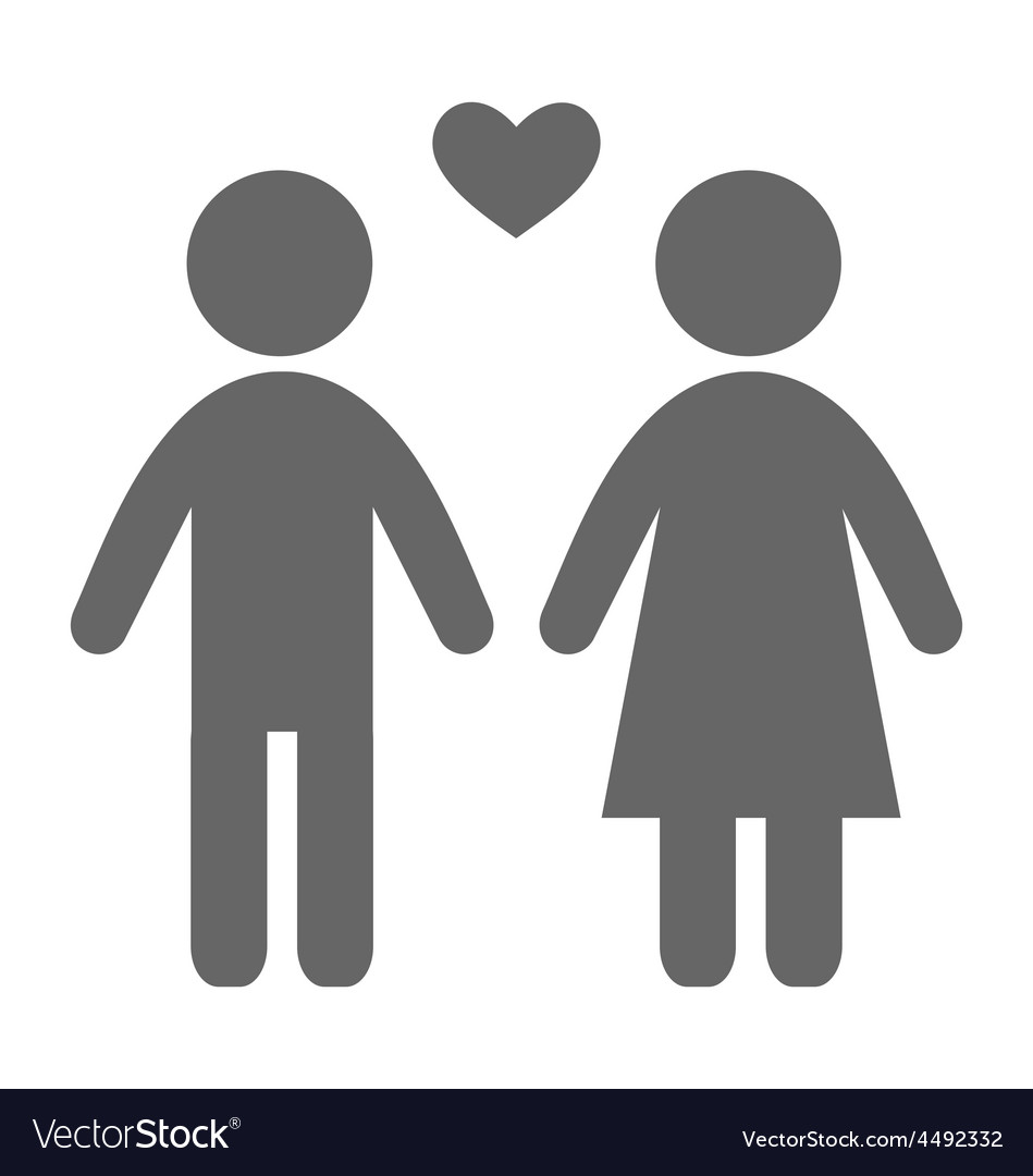 Love couple pictogram flat icon isolated on white vector | Price: 1 Credit (USD $1)