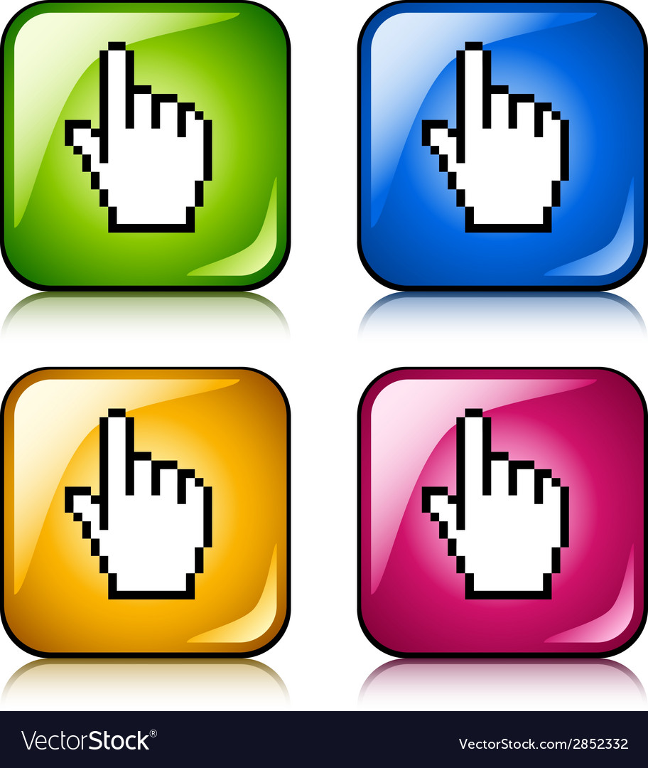 Pixel cursor hand buttons vector | Price: 1 Credit (USD $1)