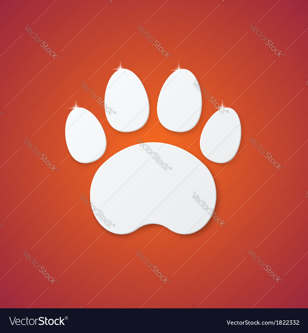 Shiny plastic trace of cat on orange background vector | Price: 1 Credit (USD $1)