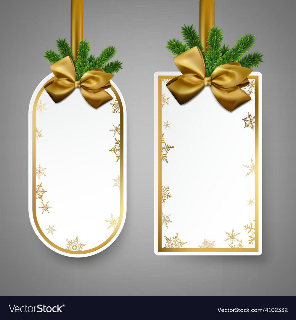 White paper gift cards with golden satin bows vector | Price: 1 Credit (USD $1)