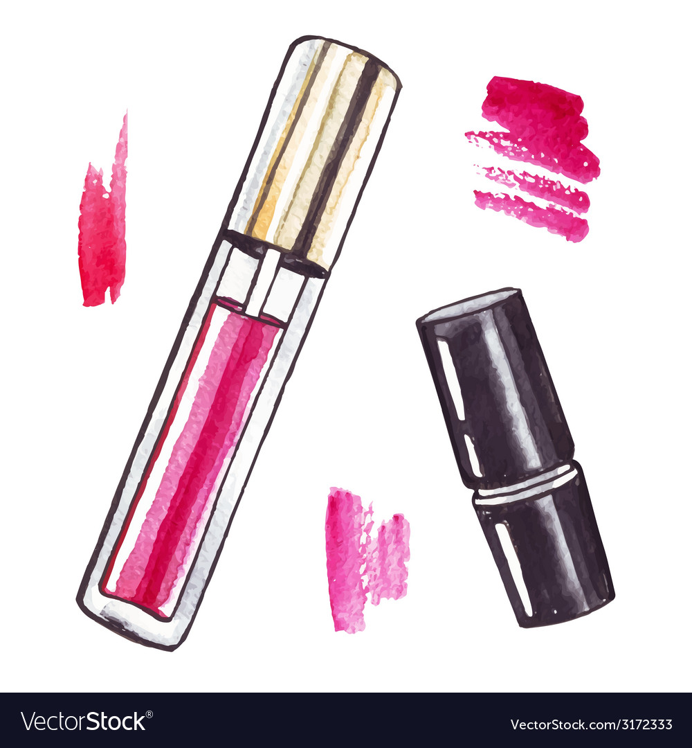 Beautiful watercolor lipstick vector | Price: 1 Credit (USD $1)