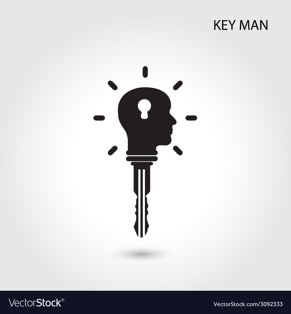 Creative silhouette head idea concept and key sign vector | Price: 1 Credit (USD $1)