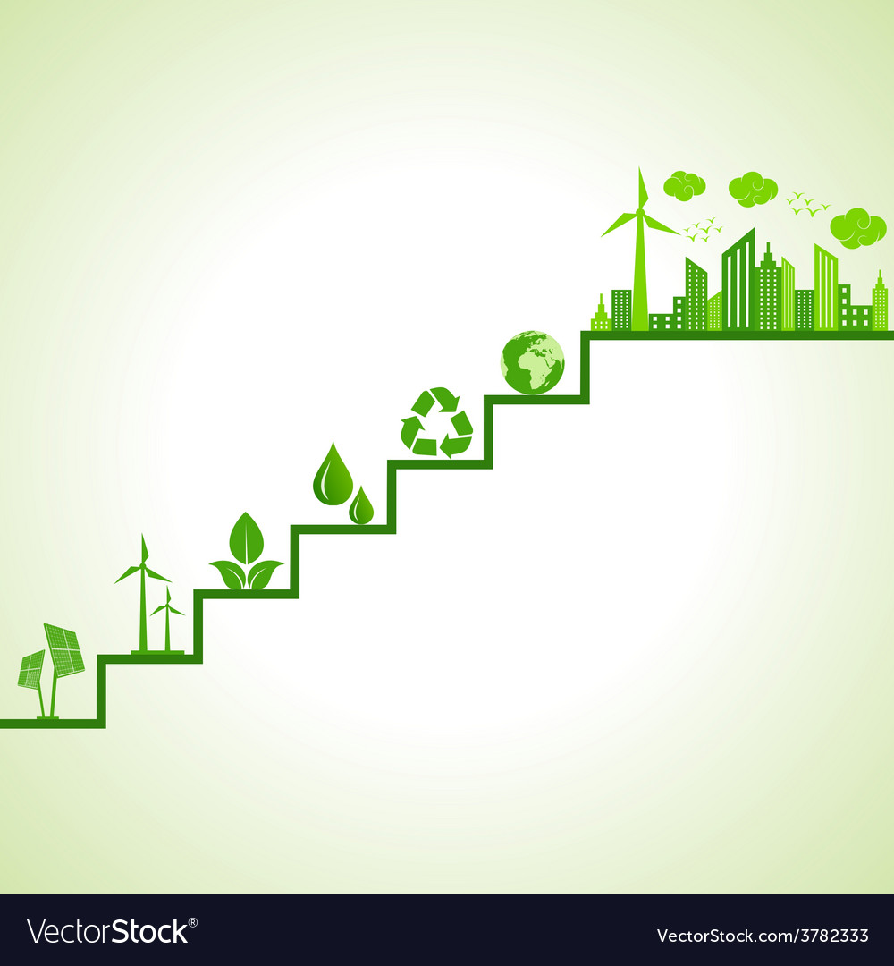 Ecology concept - eco cityscape and icons on stair vector | Price: 1 Credit (USD $1)