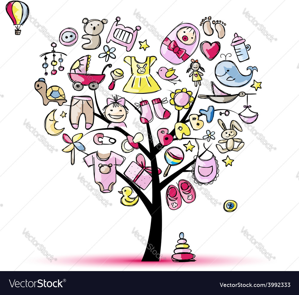 Heart shape tree with toys for baby girl vector | Price: 1 Credit (USD $1)