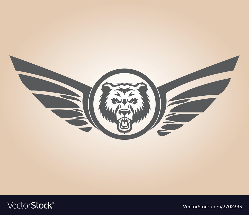 Lion head with wings vector | Price: 1 Credit (USD $1)