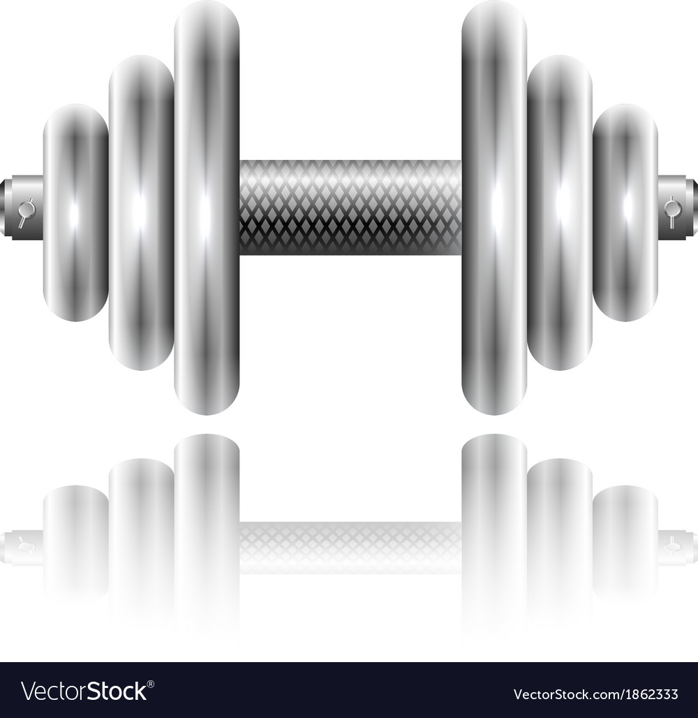 Metal sports dumbbell with reflection vector | Price: 1 Credit (USD $1)