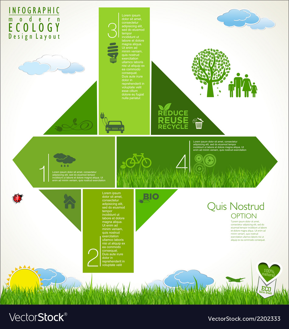 Modern green ecology infographic design vector | Price: 1 Credit (USD $1)