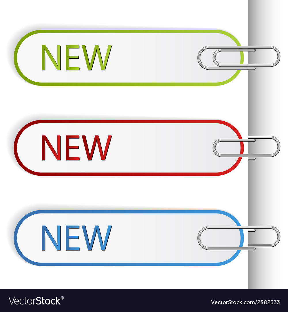 New sign labels with paperclips vector | Price: 1 Credit (USD $1)